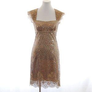 Nicole Miller Gold Sequin Lace Dress
